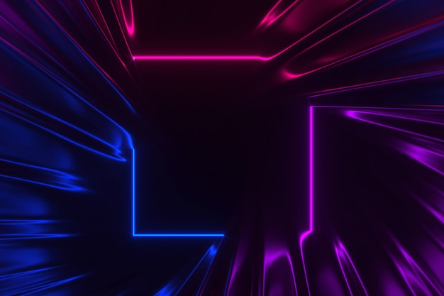 Abstract swirling corridor illuminated by neon lights 3d illustration
