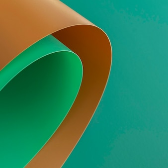 Abstract swirls of brown and green papers