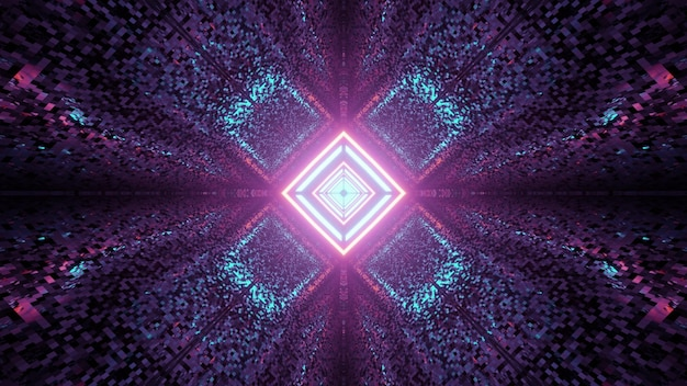 Abstract symmetric colorful textured pattern with rhombus shaped lamps in middle in 3d illustration