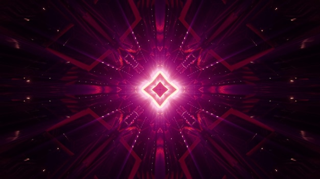 Abstract symmetric geometric ornament shimmering with red neon light in darkness