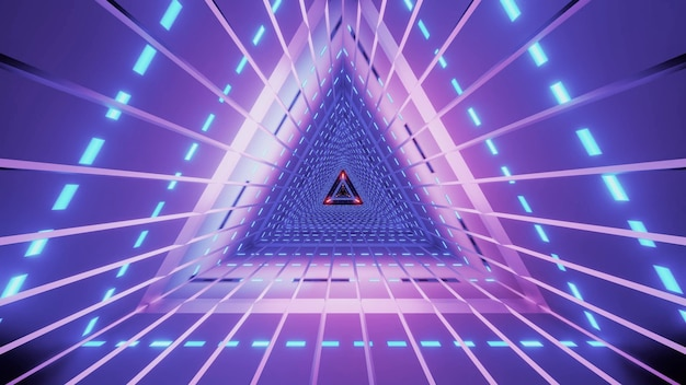 바이올렛 색상의 선과 밝은 네온 조명이있는 추상 대칭 삼각형 터널