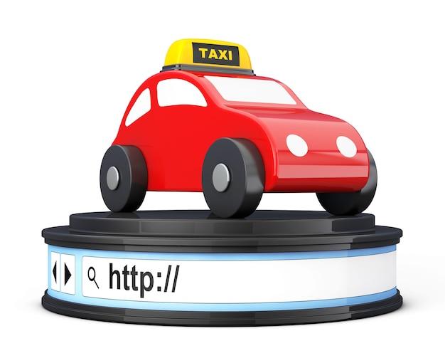 白い背景の上の丸いプラットフォーム台座としてブラウザのアドレスバー上の抽象的なタクシー車。