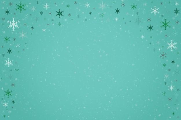 떨어지는 눈송이의 추상 청록색 민트 색 크리스마스 휴일 겨울 배경 프레임