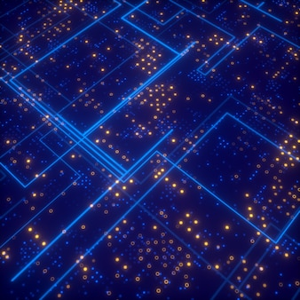 Abstract tech blue lines and many random yellow dots  3d rendering