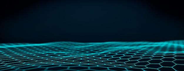 抽象的な技術的な青い波状の背景