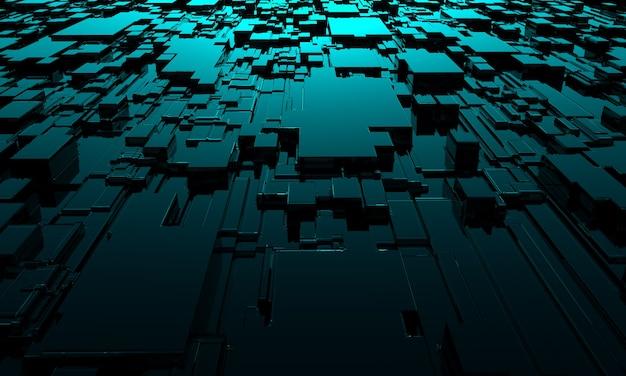 Абстрактный технологический фон квадратов 3d-рендеринга