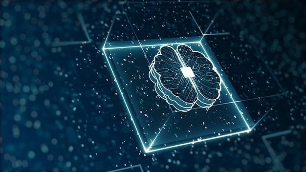 抽象的なテクノロジー人工知能デジタルバイナリデータとビッグデータの概念