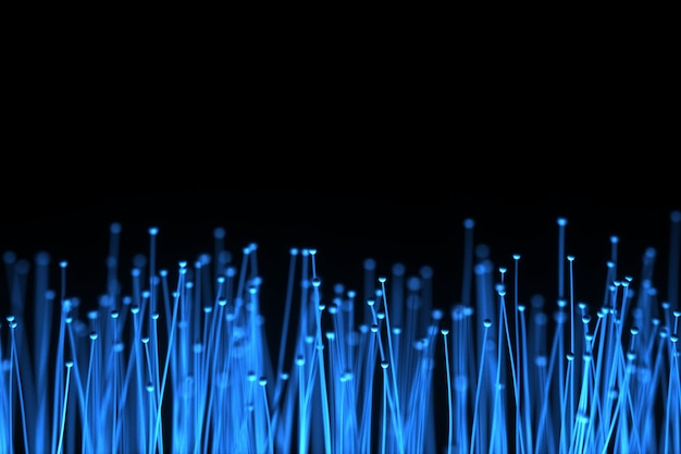 Abstract technology background. optical fibers of distribution of the light signal from a diode towards a bunch. used for high speed internet connection. 3d illustration