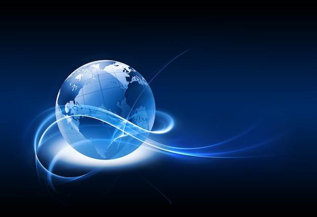 白い背景の上の惑星と抽象的な技術の背景