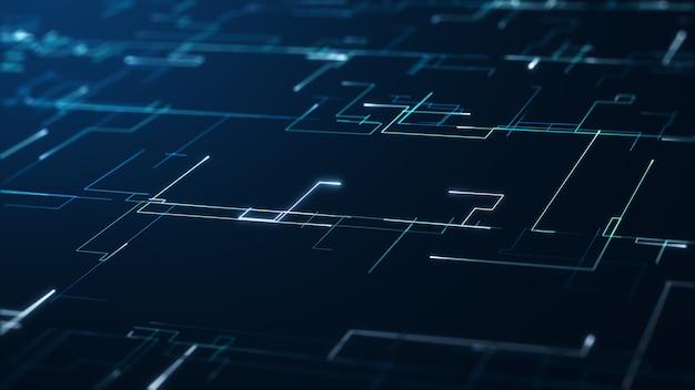 Абстрактное понятие технологии больших данных. анимированная графика для абстрактного центра обработки данных, поток данных. передача больших данных и хранение цепочки блоков, сервера, высокоскоростного интернета. 3d-рендеринг.
