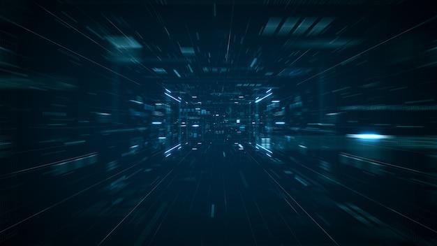 抽象技術ビッグデータの概念。抽象データセンター、データフローのモーショングラフィック。ビッグデータの転送とブロックチェーン、サーバー、高速インターネットのストレージ。 3dレンダリング。