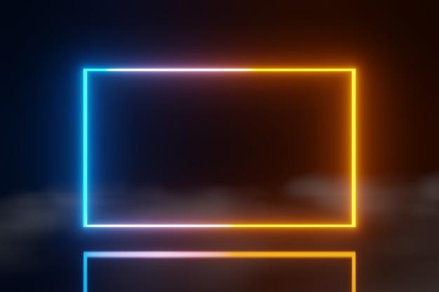 추상 기술 led 화면 블루 오렌지 빛나는 네온 라인 애니메이션 안개 배경 3d 렌더링
