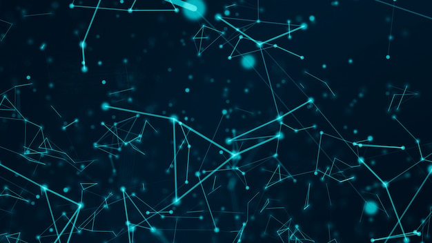 Abstract technology network connects and atoms science concept background futuristic motion graphic background