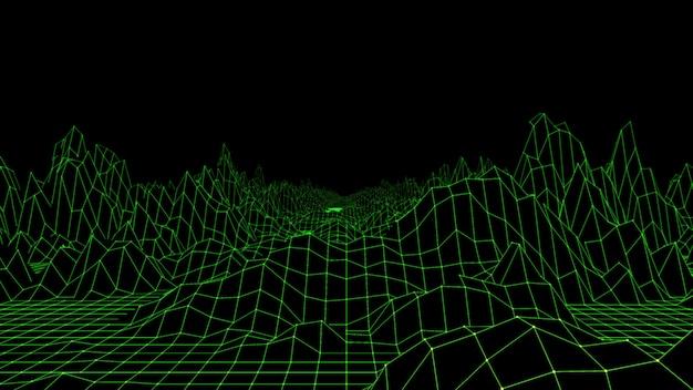 Abstract terrain landscape 3d render