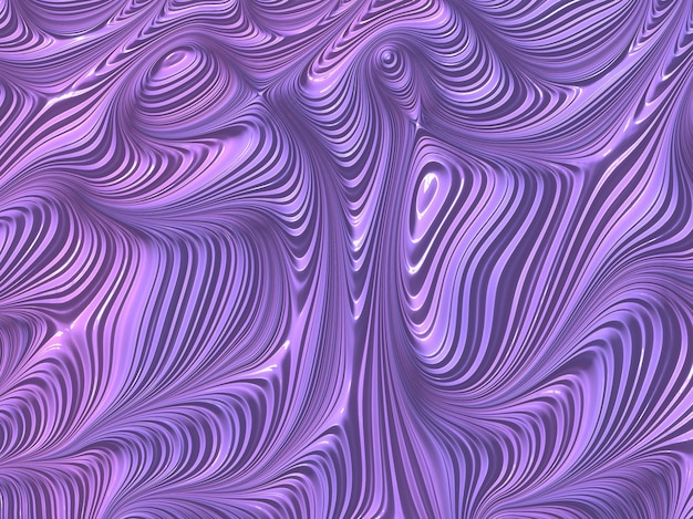 Abstract textured fractal lines in violet and lilac colors, 3d render.
