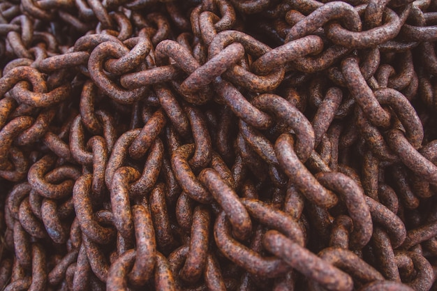 Abstract of thick rusty chain background image. top view. copy space. can use as banner.