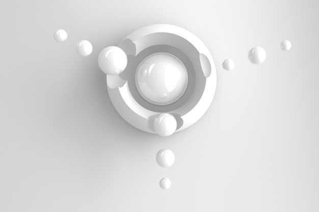 Abstract three-dimensional background of many circles with round cutouts with a stylized display of the planet