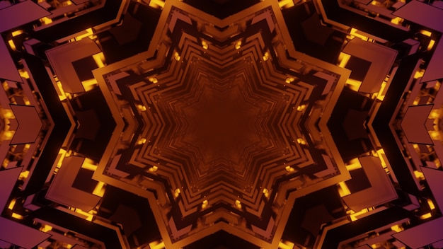 Abstract three dimensional illustration of dark red snowflake or poly angular patterns repeating and forming perspective symmetrical tunnel