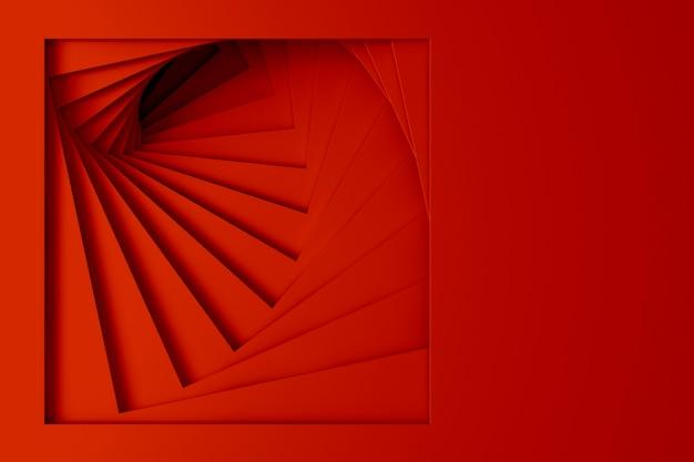 らせん状の階段のまっすぐな正方形の境界線のセットからの抽象的な3次元の最小限の明るい赤のテクスチャ。 3dイラスト。