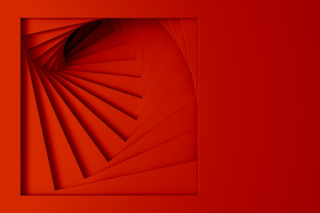Abstract three-dimensional minimal bright red texture from a set of straight square borders of spiraling steps. 3d illustration.