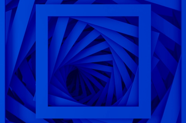 나선형 단계의 직선 사각형 테두리 집합에서 추상 3 차원 최소한의 파스텔 블루 텍스처. 3d 그림.