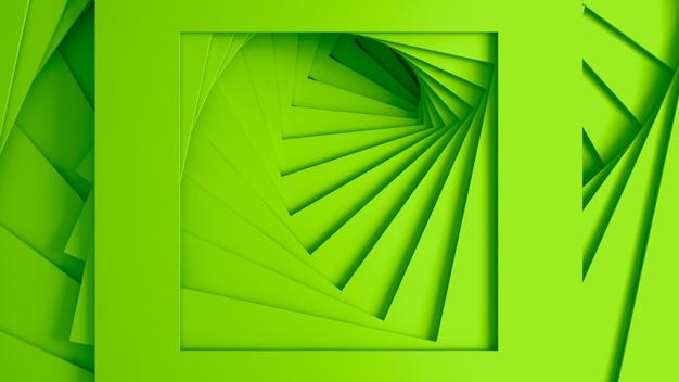 らせん状の階段のまっすぐな正方形の境界線のセットからの抽象的な3次元の最小限のパステルグリーンのテクスチャ。 3dイラスト。