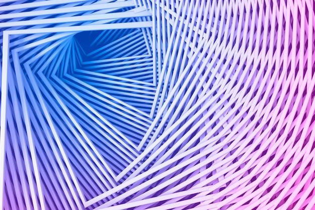 らせん状のステップのまっすぐな正方形の境界線のセットから抽象的な3次元の最小限のパステルピンクとブルーのテクスチャ