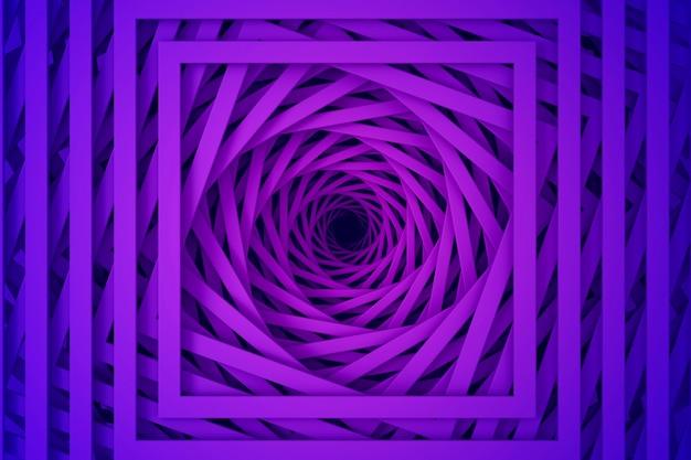 らせん状の階段のまっすぐな正方形の境界線のセットからの抽象的な3次元の最小限のパステルパープルテクスチャ。 3dイラスト