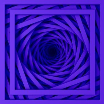 나선형 계단의 직선 사각형 테두리 집합에서 추상 3차원 최소 파스텔 보라색 질감. 3d 일러스트레이션