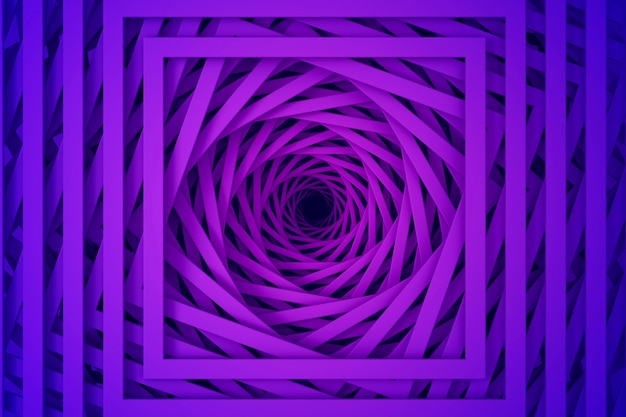 Abstract three-dimensional minimal pastel  purple texture from a set of straight square borders of spiraling steps. 3d illustration