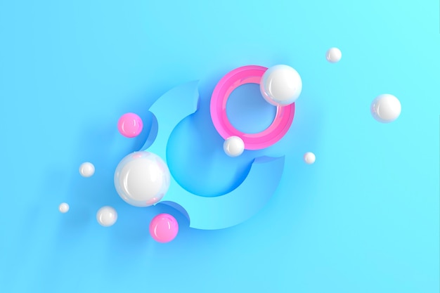 Abstract three-dimensional table of many circles with round cutouts with a stylized display of the planet and satellites on blue table. 3d illustration
