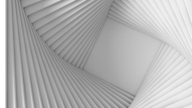 Абстрактная трехмерная текстура белого света из набора прямых квадратных шагов по спирали. 3d иллюстрации