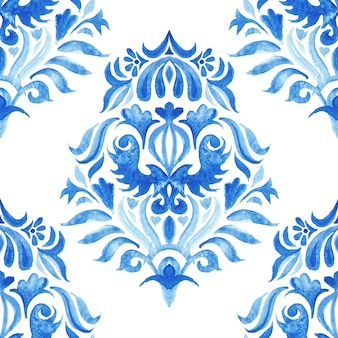 Abstract tile arabesque damask watercolor hand drawn seamless pattern for fabric and ceramic design. blue and wite azulejo decorative element.