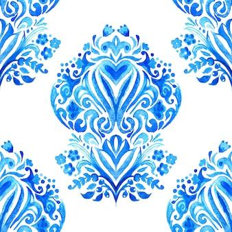Абстрактная плитка арабески дамасской акварель рисованной бесшовные модели для ткани и керамического дизайна.