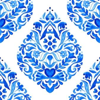 ファブリックとセラミックのデザインのための抽象的なタイルアラベスクダマスク水彩手描きシームレスパターン。