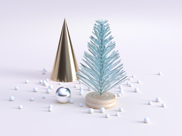 Abstract tree green clear gold cone decoration winter new year concept 3d rendering