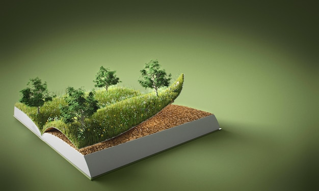 Abstract trees and ground in book with copy space