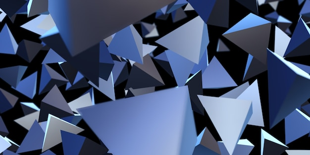 Abstract triangle glossy geometric background 3d illustration