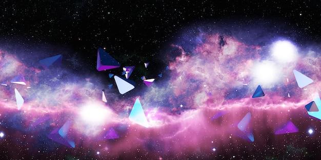 추상 삼각형 네온 색 삼각형 환상 과학 배경 개념