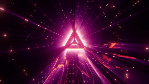 Abstract triangle shaped ornament glowing with distorted neon pink light