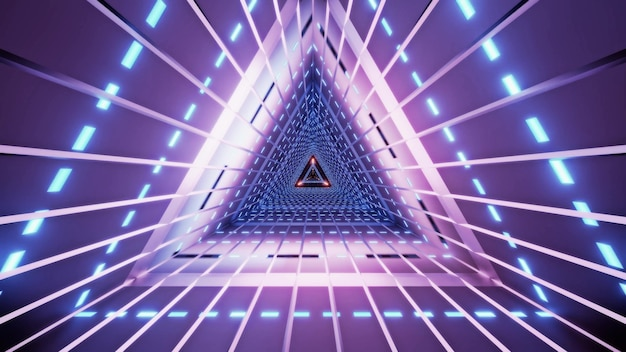 Abstract triangle tunnel with lines illuminated with bright violet neon lamps