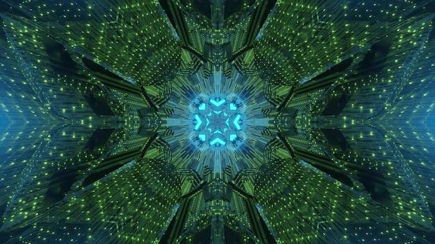 빛나는 기하학적 형태와 녹색 및 파랑 네온 색상의 추상 trippy 배경