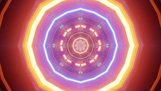 Abstract tunnel with geometric ornament glowing with multicolored neon lights 4k uhd 3d illustration