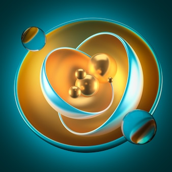 Abstract turquoise background with balls, metal, gold. 3d rendering.