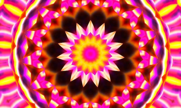 Абстрактный ультра розовый фон, тропические цветы бугенвиллеи с эффектом калейдоскопа, цветочный узор мандалы.
