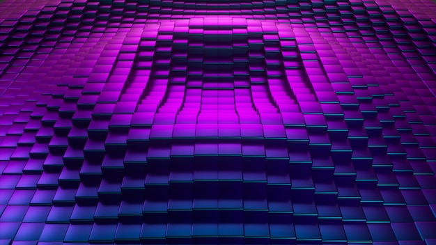Abstract ultraviolet cubic surface in motion