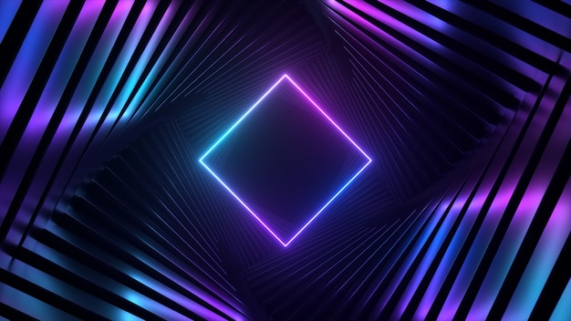 Abstract ultraviolet futuristic spinning tunnel with pink blue neon light