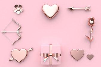Abstract valentine concept 3d rendering flower heart arrow bow gift box rose pink backgrou