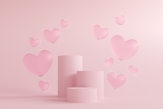 Abstract valentine's day pink background, mock up minimal scene geometry shape podium for cosmetic product display.