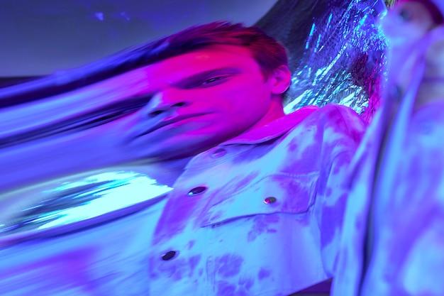 Abstract vaporwave portrait of man